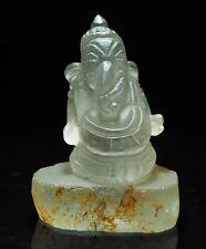 Antique Burmese Old Quartz Crystal Carved Ganesh Stting Post Bead Amulet