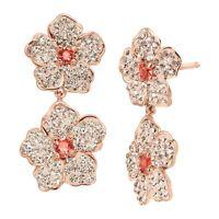 Crystaluxe Flower Drop Earrings w/ Swarovski Crystals 18K Rose Gold-Plate Silver