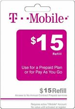 T - MOBILE Prepaid $15 Refill Top-Up Prepaid Card / DIRECT RECHARGE