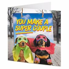Fun Dachshund 'SUPER COUPLE' Anniversary, Engagement, Wedding greeting card