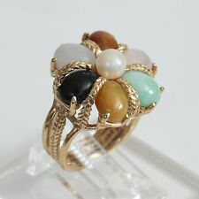 HEAVY VINTAGE SOLID 14K GOLD & MULTI JADE PEARL CLUSTER RING, 8 gms, size 5, EXC