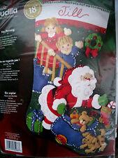 "Christmas BUCILLA STOCKING Holiday Applique FELT Craft KIT,NO PEEKING,85368,18"""