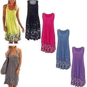 Womens Summer Sleeveless Boho Floral Dress Ladies Casual Beach Party Wear Top