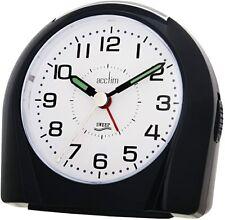Acctim 14113 Europa Silent Sweep Non Ticking Alarm Clock - Black