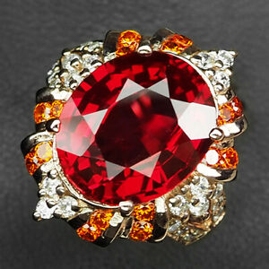 Sapphire Pink Padparadscha 11 ct. 925 Sterling Silver Rose Gold Ring Size 6.25