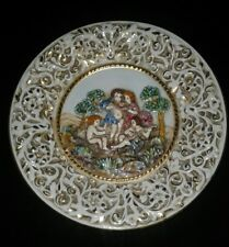 Capodimonte Cherub Italy HPainted Hanging Plate Vintag Raised Relief Nudes Gold