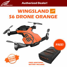 Wingsland S6 V2 Smart Pocket FPV Drone with Extra Battery 4K HD Camera Orange