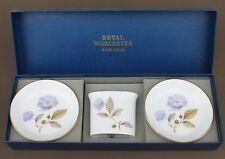 ROYAL WORCESTER 2 x 'BLUE POPPY' TRINKET DISHES & Spill Vase in Presentation box