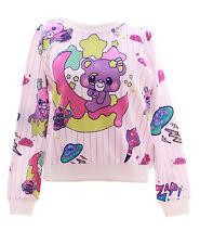 T-514 Teddy Bear Bär Moon Stars Sweet Pastel Goth Lolita Pullover Sweatshirt