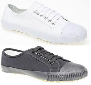 New Mens Ladies Unisex Black White School PE Pumps Plimsoll Plims Shoes Lace Up