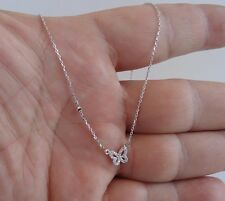925 STERLING SILVER BUTTERFLY NECKLACE PENDANT W/ .35 CT LAB DIAMONDS/18''