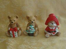 Three Homco Home Interiors Porcelain Christmas Bear Figurines