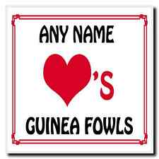 Love Heart Guinea Fowls Personalised Coaster