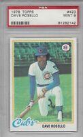 1978 Topps baseball card #423 Dave Rosello, Chicago Cubs graded PSA 9 MINT
