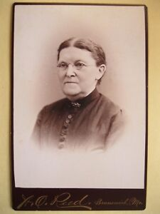 Vintage Cabinet Card Photo Victorian Woman Glasses by A O Reed Brunswick, Maine