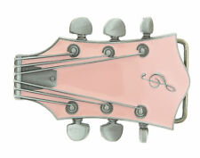 Guitar Head Music Pink Enamel Metal Belt Buckle
