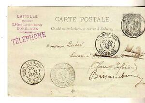 F:très belle carte postale avec entier postal . Côte: ???? euros à saisir!!!!l