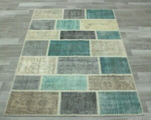 Nomadic Handmade Vintage Area Rug Turkish Patchwork Wool Ethnic Carpet 4x6 ft.