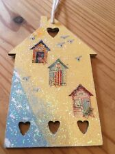 Nautical Seaside Beach Hut Hanging Decoration Real Birch Wood Hand Painted
