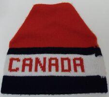 Retro Vintage 1980s BANFF CANADA ADVERTISING WINTER KNIT POM STOCKING CAP HAT
