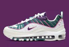 New Nike Air Max 98 White Teal Purple Running Shoes CI3709-301 Women Sz 8