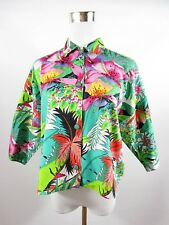 BENETTON Women's Vtg Floral Cotton Casual Summer Shirt Blouse Oversized BF58