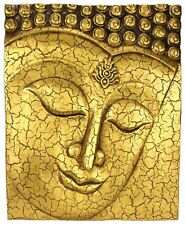 Buddha Face Panel cracked Gold finish 51cm high, Original Thailand Wood Carving
