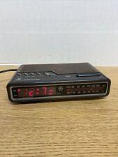 Ge Digital Alarm Clock Radio Am/Fm Model 7-4612A Brown Vintage 80's Tested B2