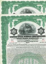 Set 2 United Steel Works Corp., 1926, $1000 Gold Bond, no hole cancellation/