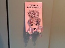 Rare Tarina Tarantino Original Candy Pink Lucite- Crystal Earrings Gift