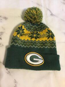 Green Bay Packets Football NFL Knit Winter Hat Cap Boys Girls EUC