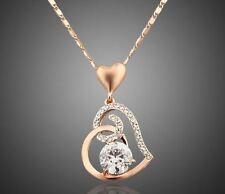 Damen-Schmuck Hals-kette Rose Gold Vergoldet Kristall Strass-Steine Herz Herzen