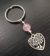 Tree Of Life Heart Keyring / Bag Charm With Rose Quartz Gemstone Bead, Gift