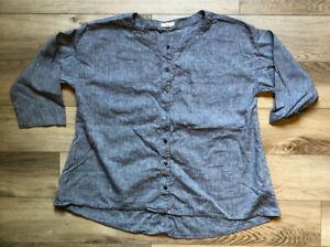 Eileen Fisher Women's Organic Linen Knit Top Grey Size Large 3/4 Sleeve