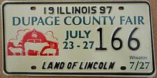 "Illinois 1997 ""Dupage County Fair"" USA Number License Plate American Farm 166"