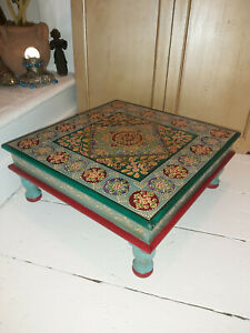 HAND PAINTED WOODEN BAJOT TABLE IN A TURQUOISE & FLORAL DESIGN FROM INDIA