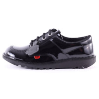 KICKERS GIRLS BLACK PATENT LEATHER SHOES UK SIZES 12.5,13,1,2,2.5 NEW STYLE