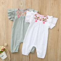 Newborn Infant Baby Girls Color Solid Embroidery Floral Romper Bodysuit Outfits