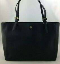 Tory Burch Emerson York Black Saffiano Leather Large Buckle Tote 49125