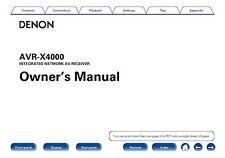 Denon AVR-X4000 Receiver Amplifier Owners Manual