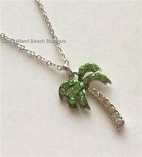 """Silver Crystal Palm Tree Necklace 18"""" Island Plated Pendant Coconut Beach Usa"""