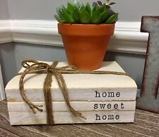 Stamped Stacked Books Farmhouse Decor Home Sweet Home