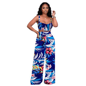 Summer Fashion Women Floral Print Sleeveless Patchwork Travel Jumpsuit Outfits