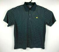 Masters Tech Men's Golf Polo Shirt Size XL Black & White Striped Lightweight