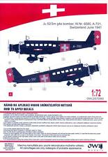 Owl Decals 1/72 JUNKERS Ju-52/3m g4e Bomber Switzerland June 1941