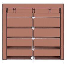 7 Tiers Portable Shoe Rack Closet Fabric Cover Organizer Cabinet Mocha