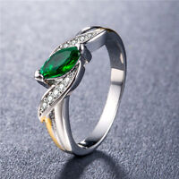 925 Silver Jewelry Marquise Cut Emerald Gorgeous Women Wedding Ring Size 6-10