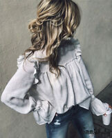 Womens Long Sleeve Blouse Pullover Jumper Crop Tops Casual Loose T-Shirt White