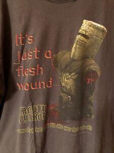Vintage Monty Python T-Shirt Mens XL Gray 2001 Movie Tee Its Just A Flesh Wound
