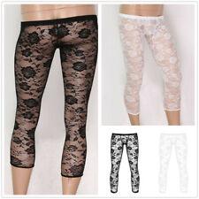 Mens See Through Lace Stretchy Legging Tight Long Johns Pants Underwear Panties